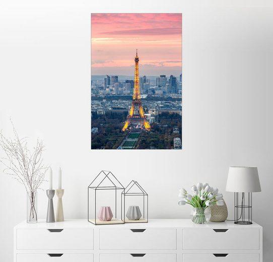 Posterlounge Wandbild - Matteo Colombo »Eiffelturm und die Stadt Paris bei Sonnenunte...«