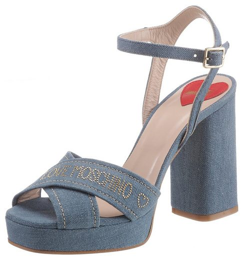LOVE MOSCHINO High-Heel-Sandalette mit goldfarbenen Akzenten