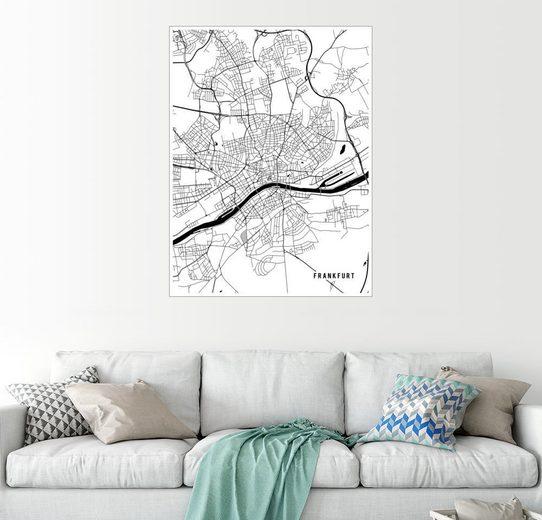 Posterlounge Wandbild - Main Street Maps »Frankfurt Deutschland Karte«