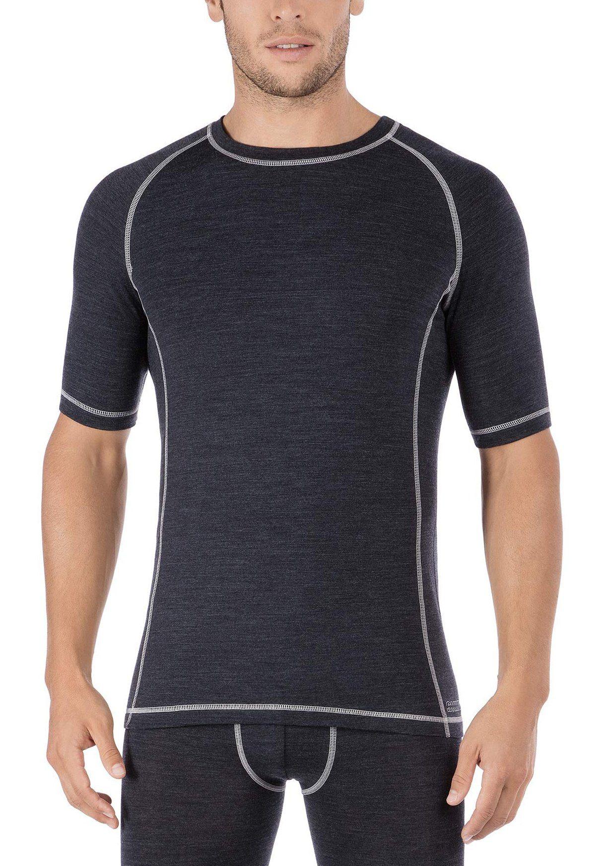 Skiny T-Shirt der Active Wool-Serie mit Kontrastnähten