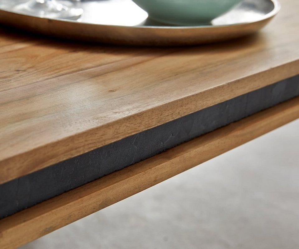 Delife wohnzimmertisch stonegrace akazie natur 117x60 cm for Designer couchtisch