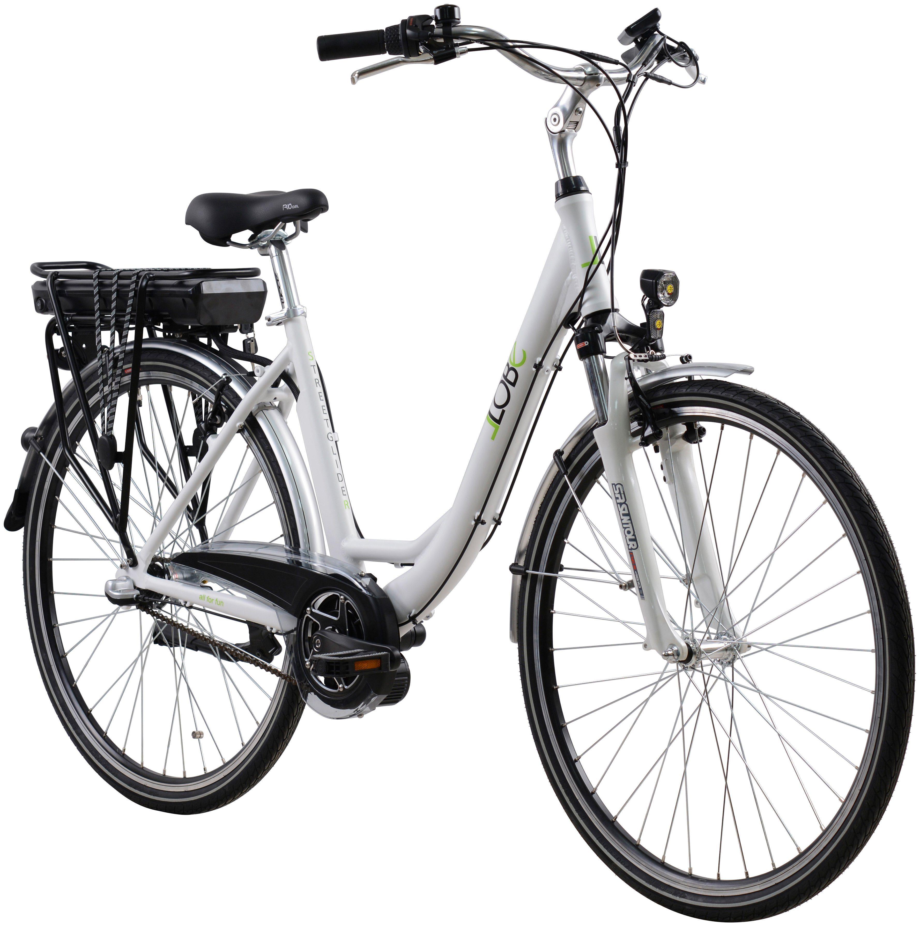 LLOBE E-Bike City »Streetglider«, 28 Zoll, 3 Gang, Mittelmotor, 374,4 Wh