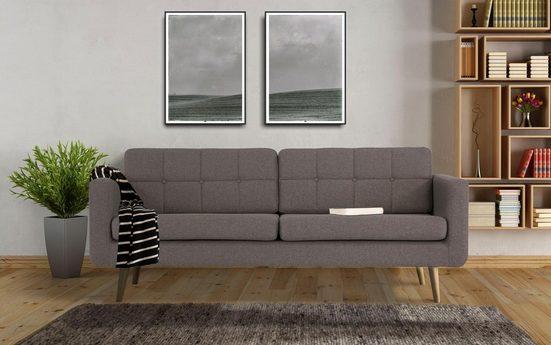 Home affaire 3-Sitzer »Brest«, mit Knopfheftung und Steppung im Rücken, geradliniges Design