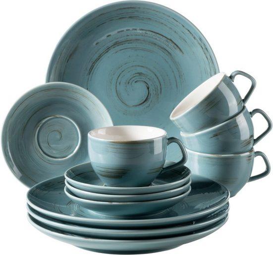 Home affaire Kaffeeservice (12-tlg), Porzellan, Porzellan