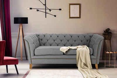 Home affaire 2-Sitzer »Newport«, mit Knopfheftung im Rücken, Keder und feinen Armlehnen