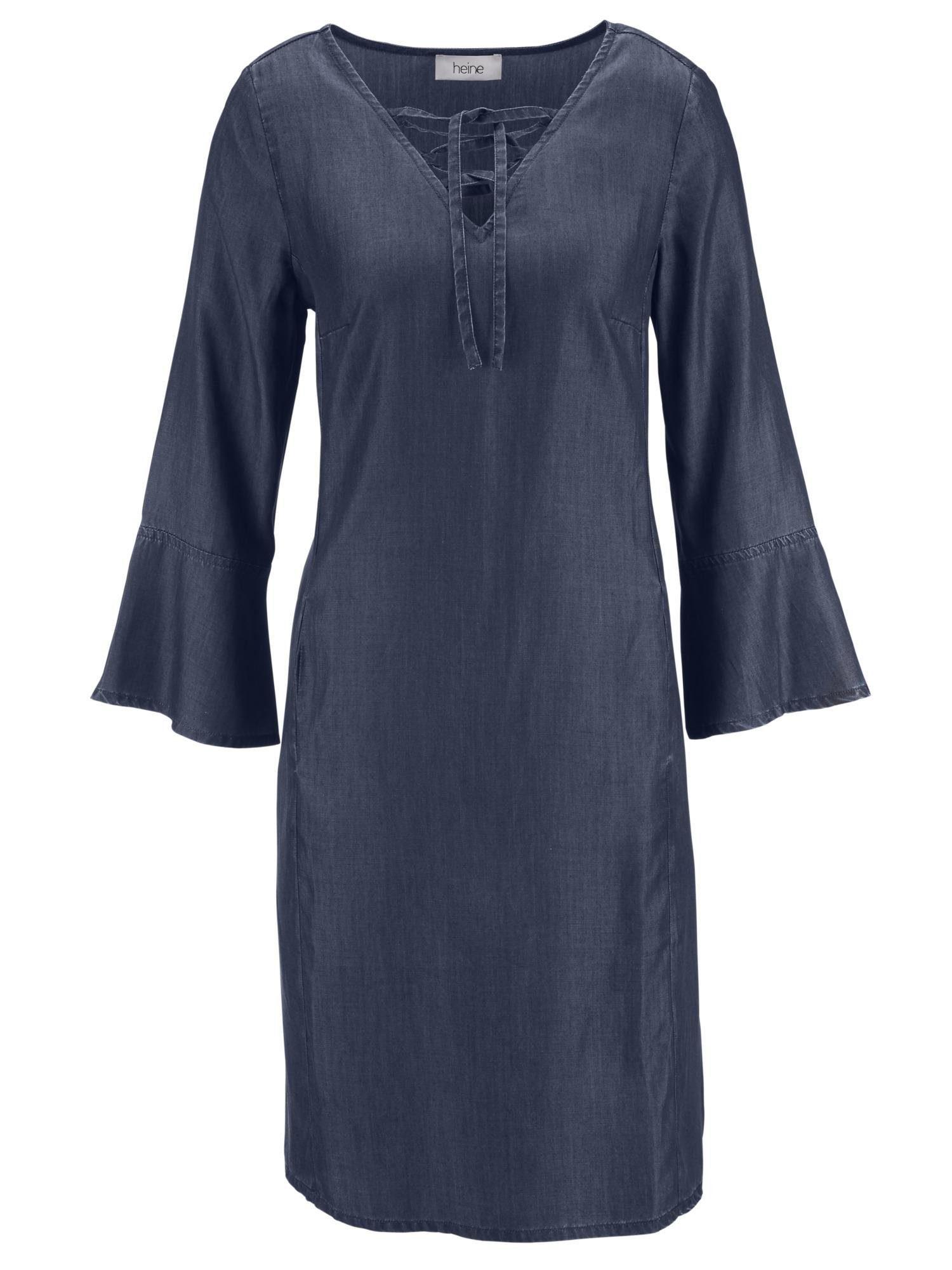 heine CASUAL Jeanskleid mit Schnürrung am Ausschnitt