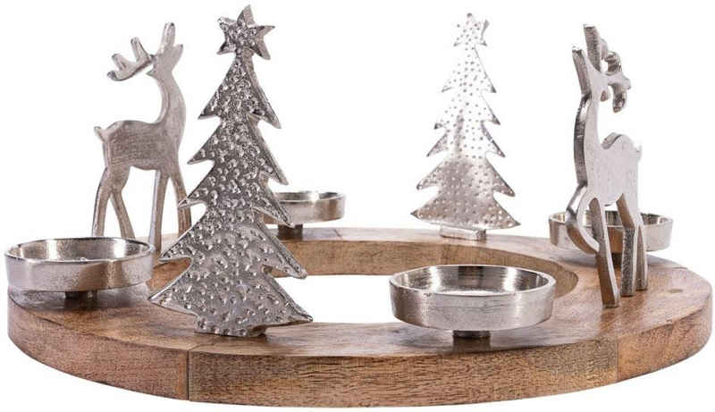Adventsleuchter »Rentiere«, aus Mangoholz und Aluminium