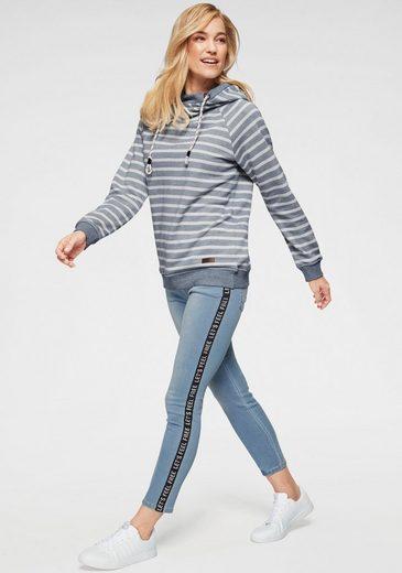 Kapuze Cooler meliert Jeansblau Navigazione offwhite Im Sweatshirt Streifen look Mit WDHEI29