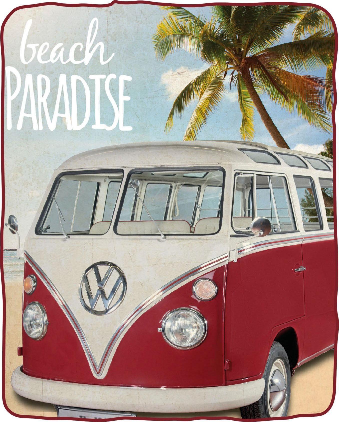 Wohndecke »Beach Bulli«, Volkswagen, in Vintage Optik