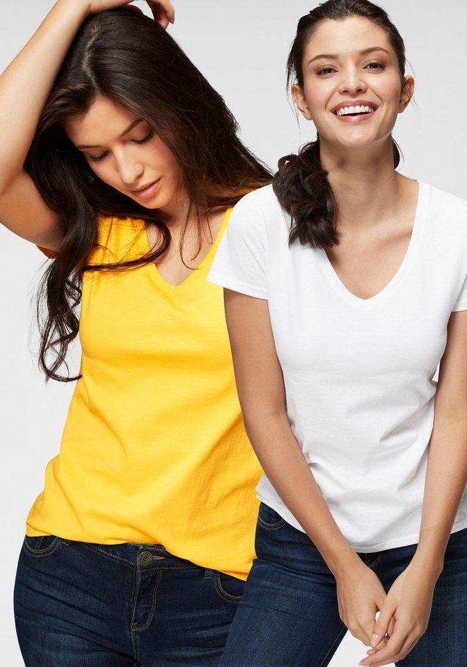Fruit of the Loom V-Shirt »Lady-Fit Valueweight V-Neck« (Packung, 2 tlg., 2er-Pack) | Bekleidung > Shirts > V-Shirts | Gelb | Fruit of the Loom