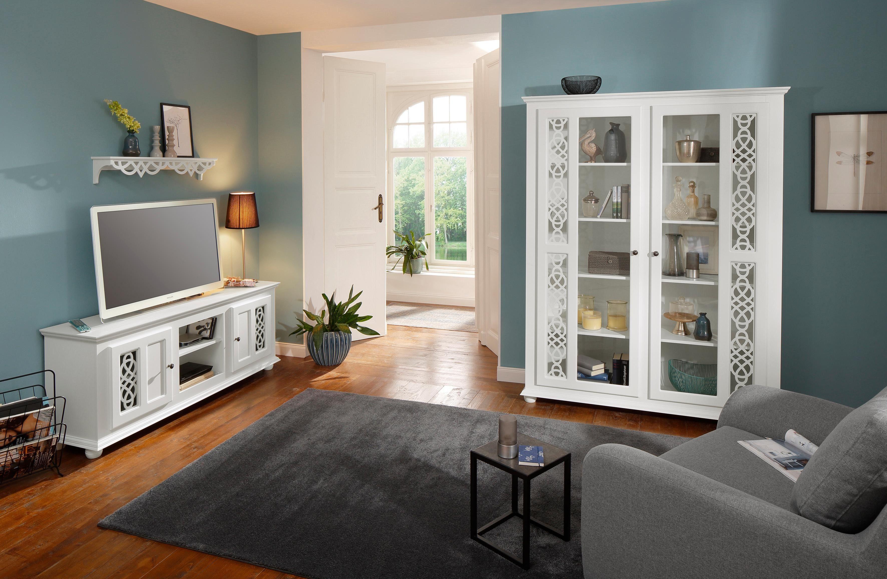 Home affaire Vitrine »Polaris« mit 2 Glastüren, mit kunstvollen Fräsungen, Breite 146 cm