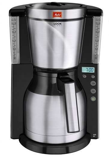 Melitta Filterkaffeemaschine Melitta Look Therm Timer 1011-16, Filterkaffeemaschine mit Thermkanne und Timerfunktion, 1,25l Kaffeekanne, Papierfilter 1x4