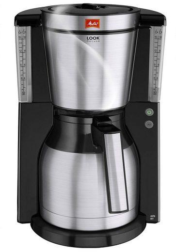 Melitta Filterkaffeemaschine Melitta Look Therm DeLuxe 1011-14, Filterkaffeemaschine mit Thermkanne in schwarz-Edelstahl, 1,25l Kaffeekanne, Papierfilter 1x4