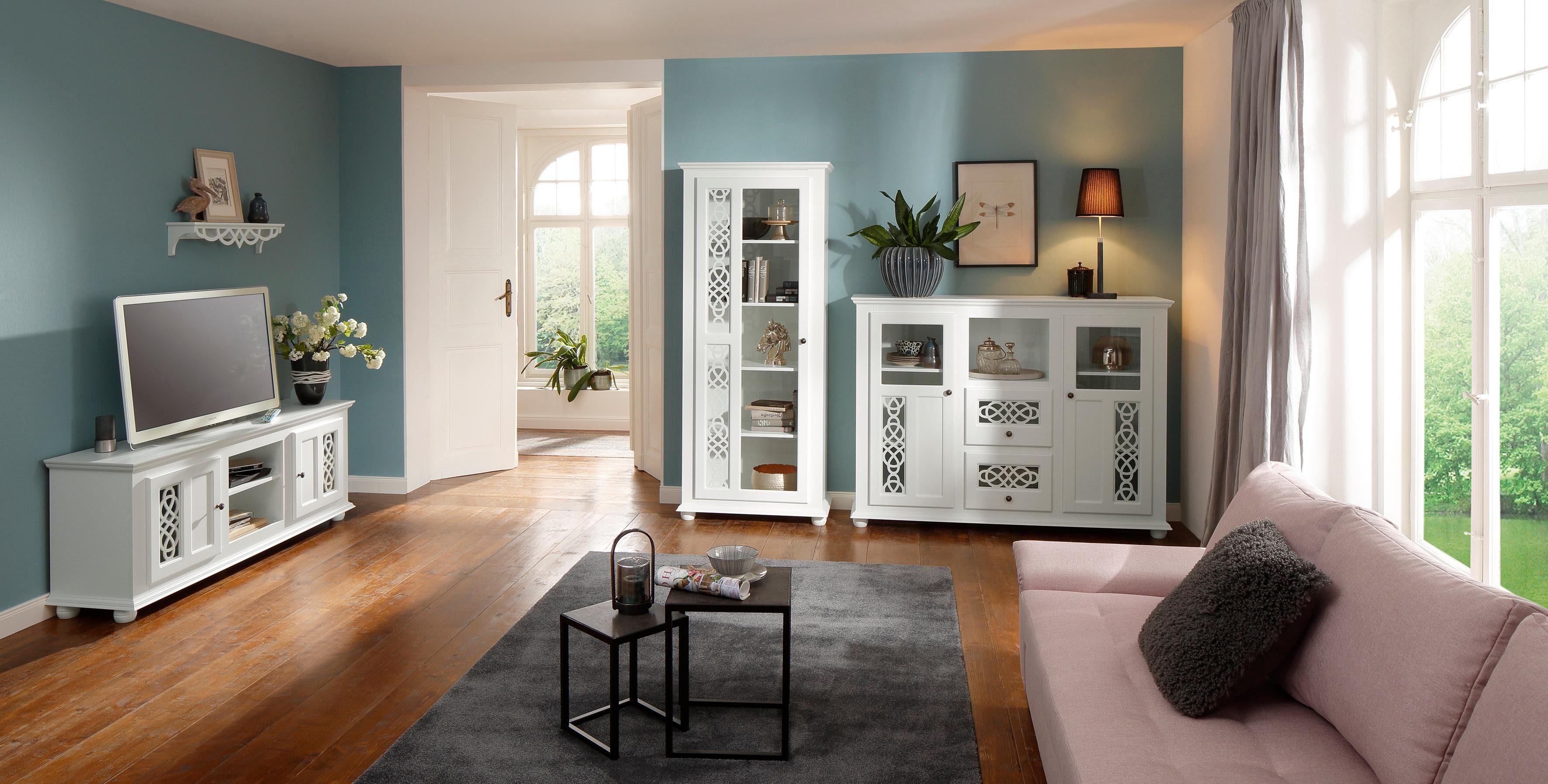 Home affaire Vitrine »Polaris« mit einer Glastür, mit kunstvollen Fräsungen, Breite 80 cm