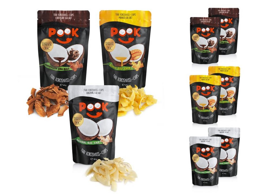 pook kokosnusschips set choco mango original 40g. Black Bedroom Furniture Sets. Home Design Ideas
