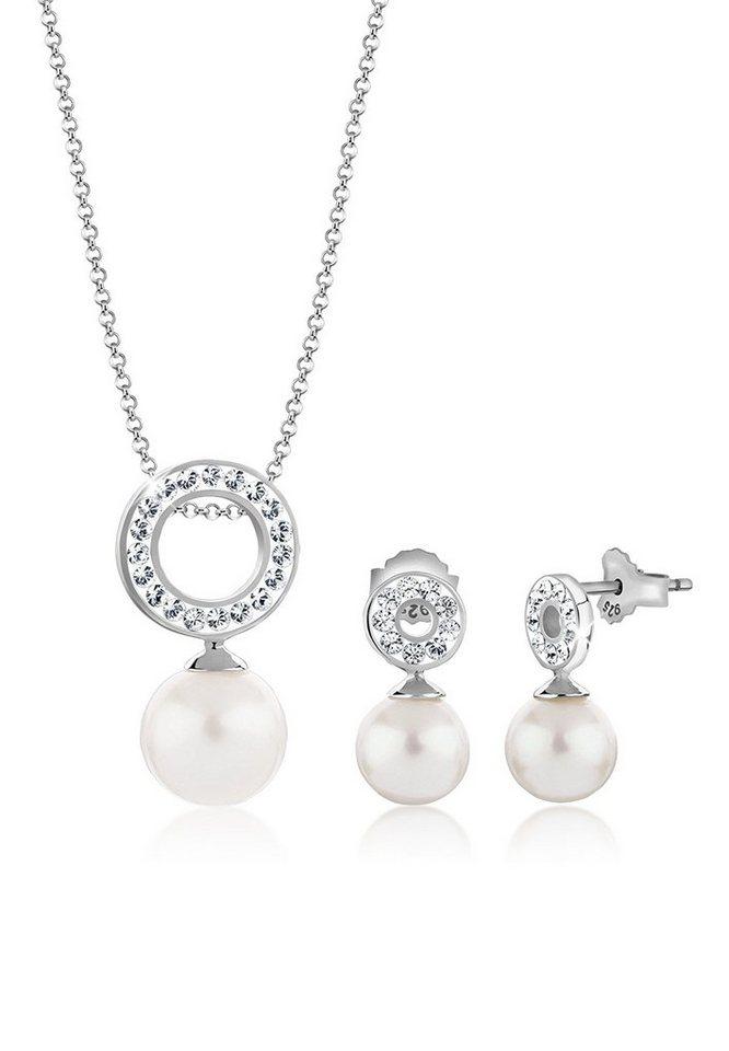 Nenalina Schmuckset »Set: Kreis Swarovski® Kristallen Perlen Edel 925 Silber« (Set, 2 tlg) | Schmuck > Schmucksets | Nenalina