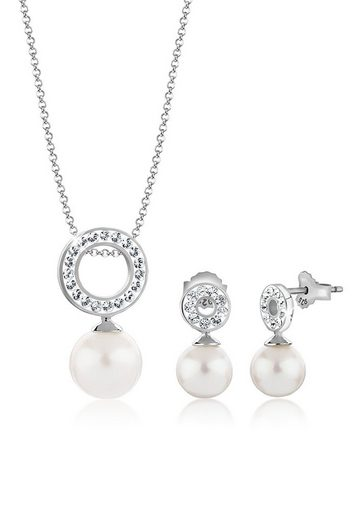 Nenalina Schmuckset »Kreis Swarovski® Kristallen Perlen 925 Silber«