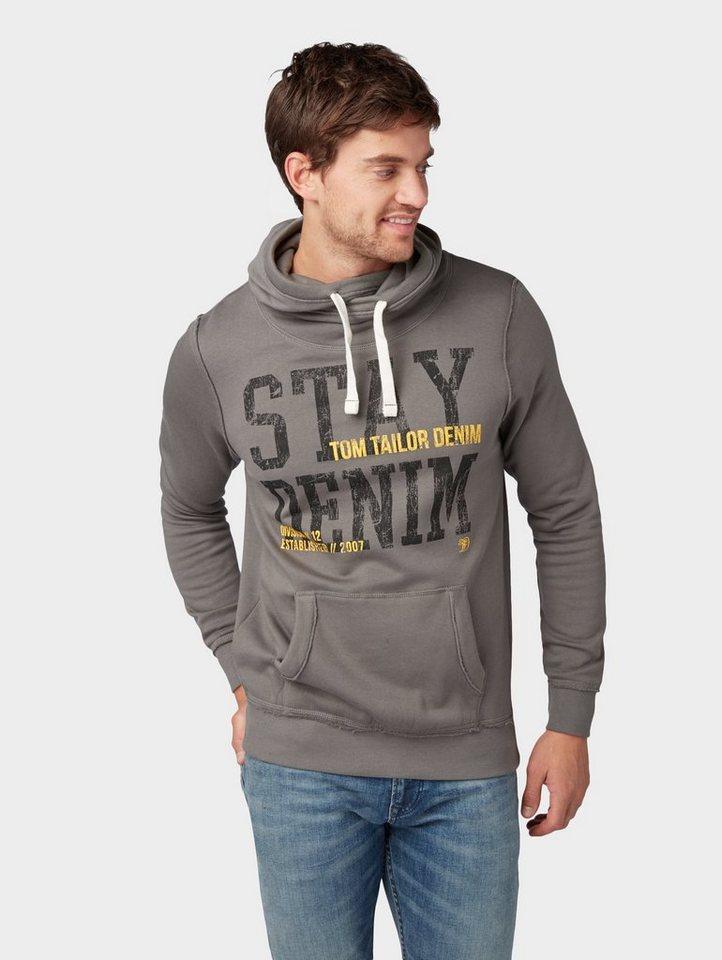 Herren TOM TAILOR Denim  Sweatshirt Sweatshirt mit Print-Motiv grau | 04060868278771