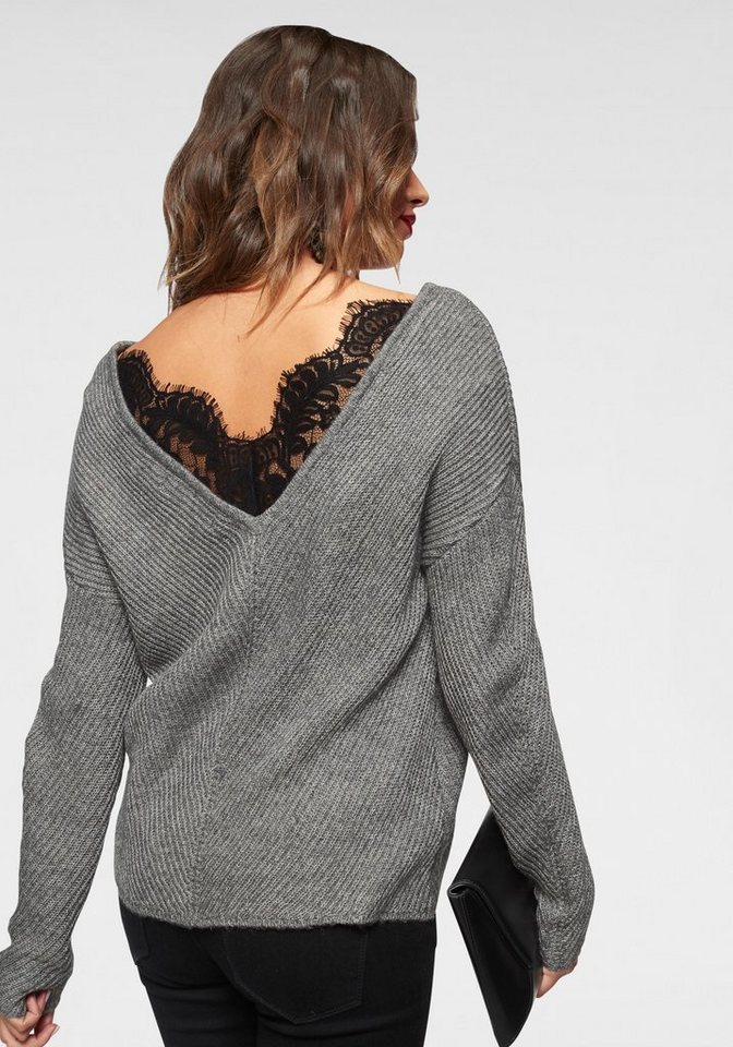Vero Moda V-Ausschnitt-Pullover »BUENA LENA« mit Spitze am Rücken ... b945278b99