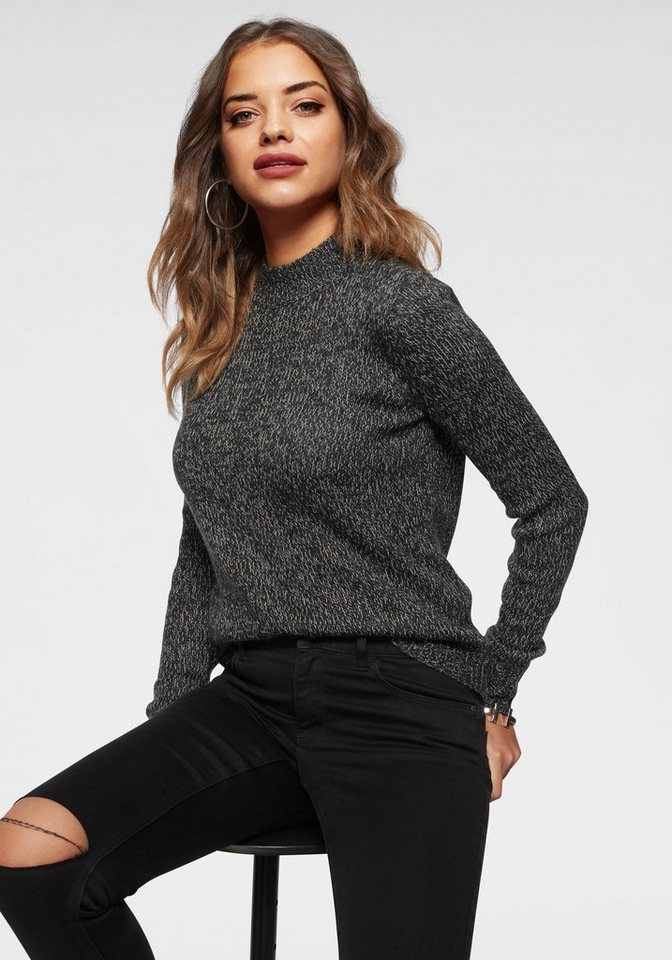 Vero Moda Stehkragenpullover »JIVE« in melierter Optik | Bekleidung > Pullover > Stehkragenpullover | Grau | Vero Moda