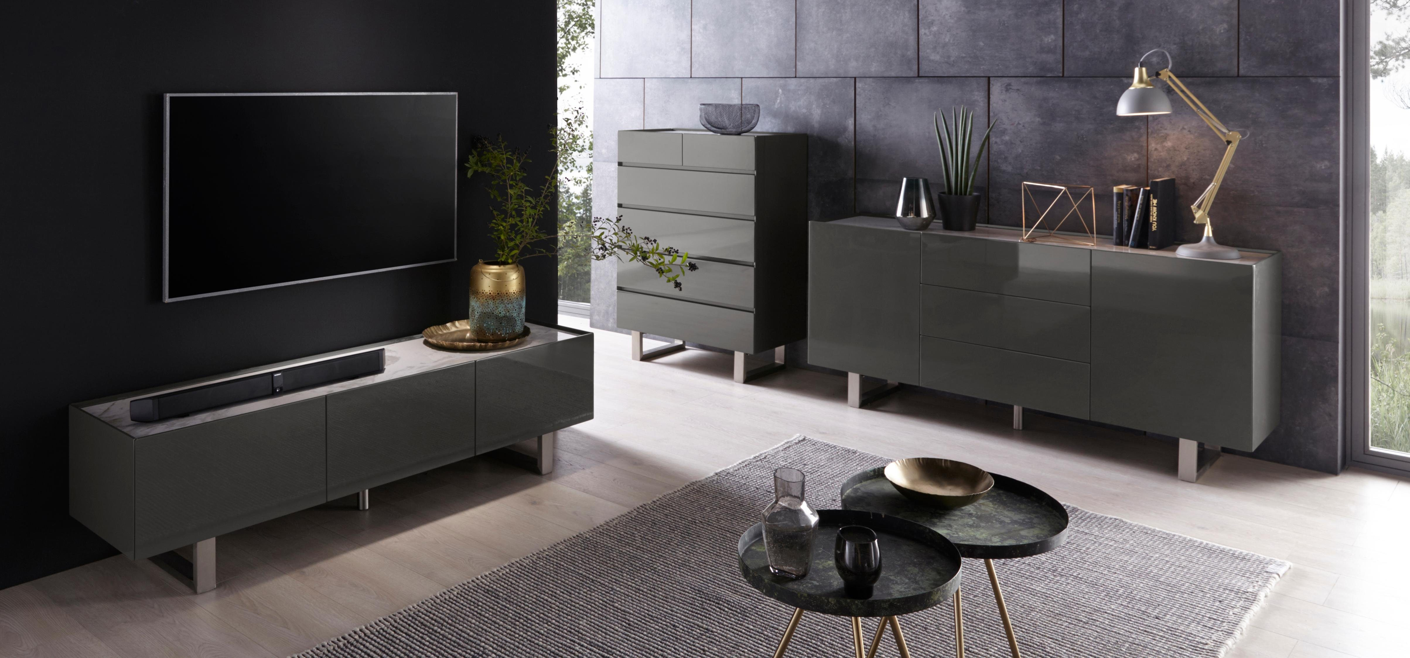 Places of Style Sideboard »Abuja« in Hochglanzlackierung mit Keramik, Breite 165 cm
