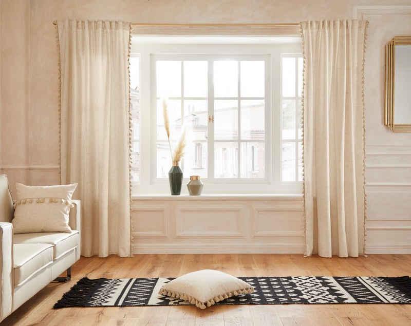 Vorhang »Clara«, Guido Maria Kretschmer Home&Living, Multifunktionsband (1 Stück), blickdicht, Leinen Optik, mit trendigen Bommeln