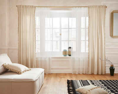 Gardine »Belle«, Guido Maria Kretschmer Home&Living, verdeckte Schlaufen (1 Stück), transparent, Scherliqualität mit Fransenoberfläche