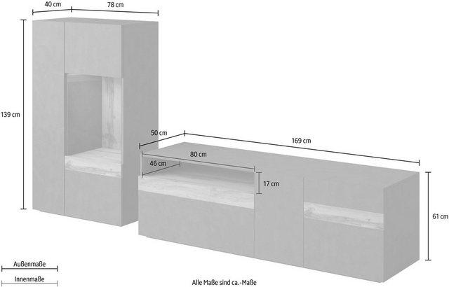Wohnwände - TRENDMANUFAKTUR Wohnwand »SILKE LIGHT«, (Set, 2 tlg)  - Onlineshop OTTO