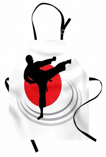 Abakuhaus Kochschürze »Höhenverstellbar Klare Farben ohne verblassen«, Kung Fu Man Karate Kick Silhouette