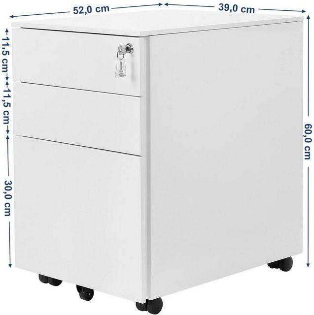 Kommoden und Container - SONGMICS Rollcontainer »OFC60BK«, Stahl Rollcontainer mit 3 Schubladen und Hängeregistratur Abschließbarer Büroschrank, Schrankkorpus Vormontiert, 39 x 60 x 52 cm Weiß  - Onlineshop OTTO