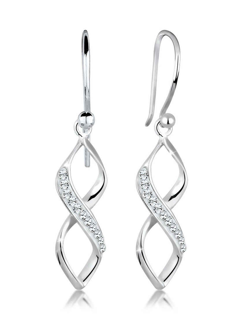 Elli Paar Ohrhänger »Infinity Kristalle Spirale Silber«