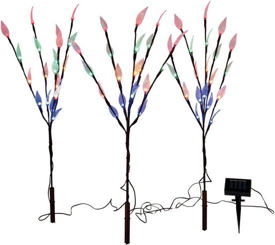 näve LED Gartenleuchte »LED Außen-Deko-Erdspieß 3er-Set«, Blinklichtfunktion