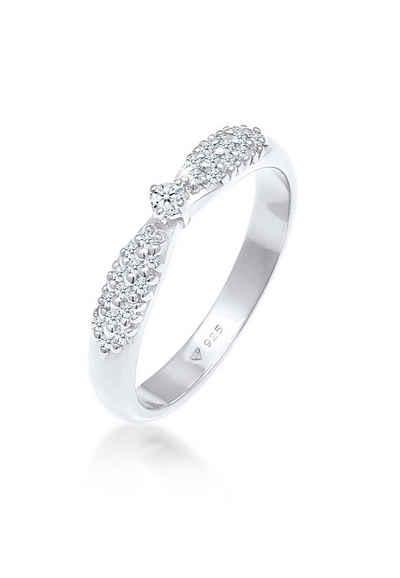 Elli Premium Diamantring »Verlobung Glamour Diamant (0,16 ct) 925 Silber«, Microsetting
