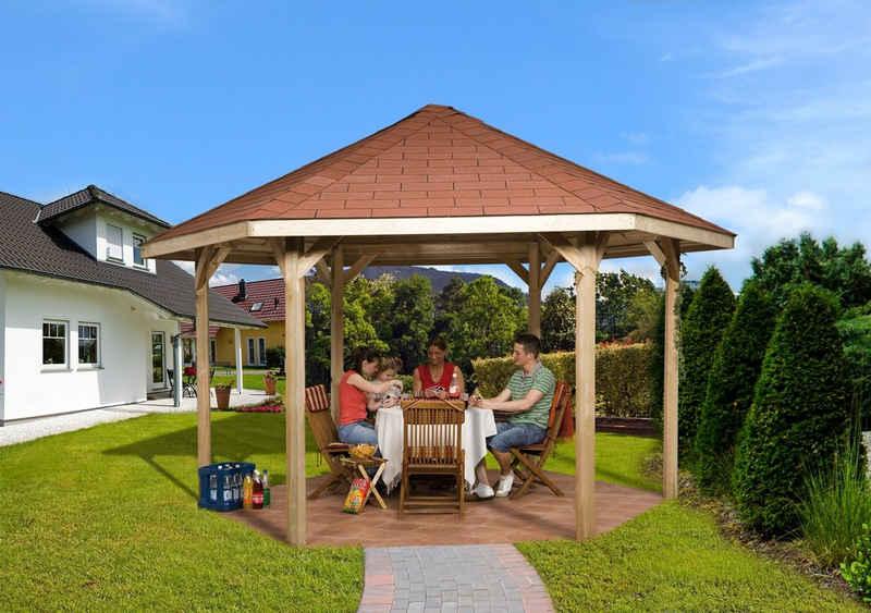 weka Pavillon »Paradies 2«, (Set), BxT: 399x461 cm, inkl. Dachschindeln und Pfostenanker