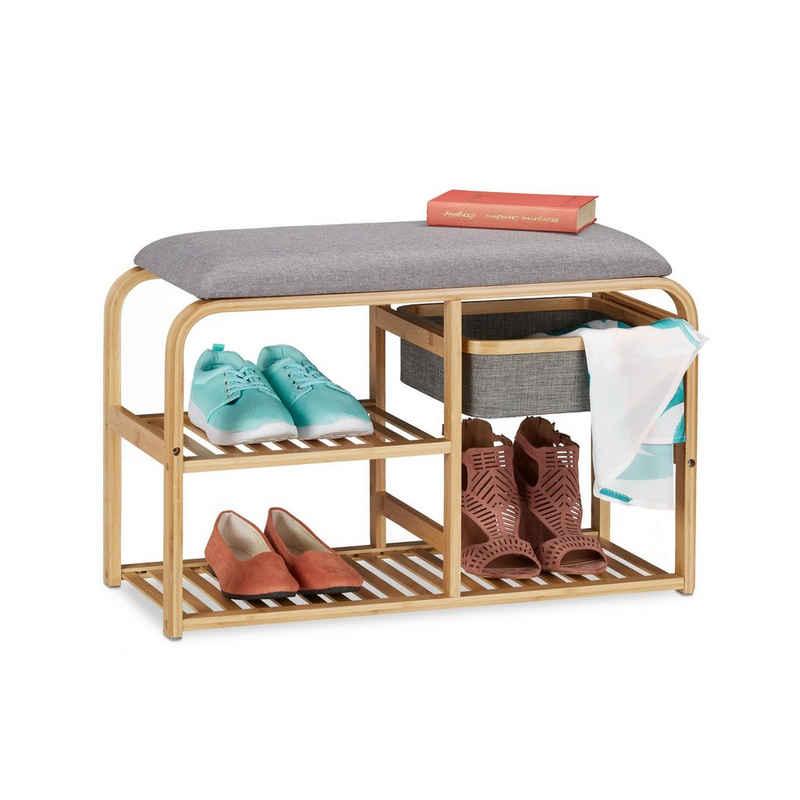 relaxdays Schuhbank »Schuhbank Bambus mit Sitzfläche«