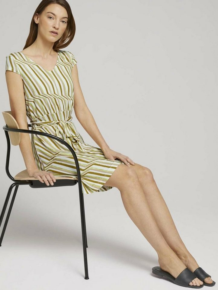 tom tailor -  Minikleid »Gemustertes Jerseykleid mit Bindegürtel«