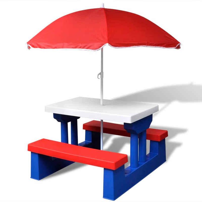 vidaXL Gartentisch »vidaXL Kinder-Picknicktisch mit Bänken Sonnenschirm Mehrfarbig«
