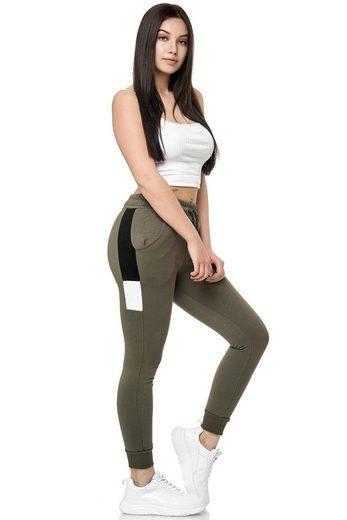 John Kayna Jogginghose »Damen Jogging Hose Jogger Streetwear Frauen Sporth« (Sporthose Trainingshose Sweatpants, 1-tlg., mit modischen Schnitten und Designs) Freizeit Casual Urban