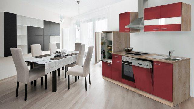 Respekta Küchenzeile KB280ESR 280 cm Rot-Eiche Sägerau Nachbildung