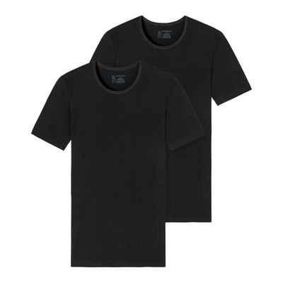 Schiesser Unterhemd »2er-Pack - 95/5 - Organic Cotton T-Shirt / Unterhemd mit V-Ausschnitt« (2 Stück), Komfortabler Rundhalsausschnitt, Perfekter Sitz, Elastische Single-Jersey Qualität