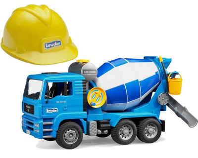 Bruder® Spielzeug-LKW »1638 MAN TGA Betonmisch-LKW«, Baustellen-Fahrzeug, Spielzeug Modell, mit Helm, ausklappbare Spiegel, befüllbarer Wassertank