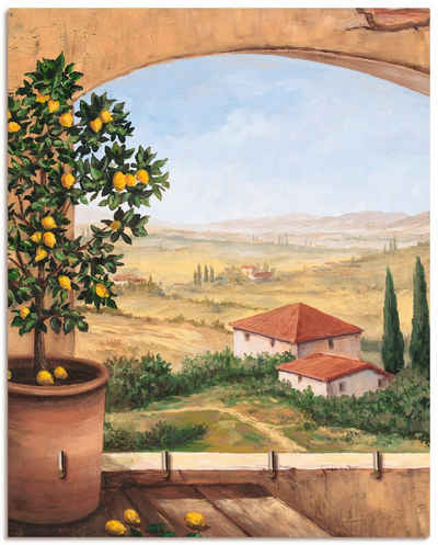 Artland Schlüsselbrett »Fenster in der Toskana«, aus Holz mit 4 Schlüsselhaken – Schlüsselboard, Schlüsselbretter, Schlüsselhalter, Schlüsselaufhänger für den Flur – Stil: Modern