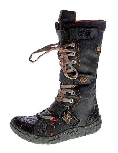 TMA »Damen Leder Winter Stiefel TMA 7086 Neu gefüttert« Stiefel Gefüttert, Antik bzw. Used Look, Reptil-Print, Klettverschlüsse