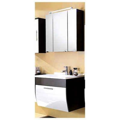 Lomadox Waschtisch-Set »TALONA-02«, (Spar-Set, 2-tlg), Badmöbel-Waschplatz- Hochglanz weiß, anthrazit, 70cm Waschtisch inkl. Becken, LED (2-teilig), B x H x T ca.: 70 x 200 x 49,5 cm