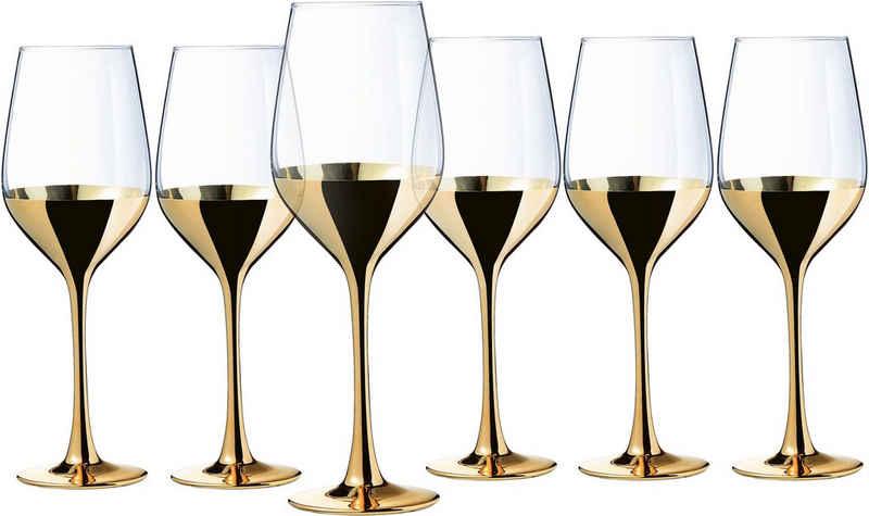 Leonique Weinglas »Donella«, Glas, mit Golddekor, 6-teilig