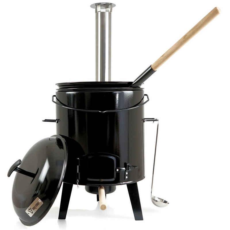 BBQ-Toro Holzkohlegrill »BBQ-Toro emaillierte Gulaschkanone mit Deckel, Kessel 17L und Pfanne«