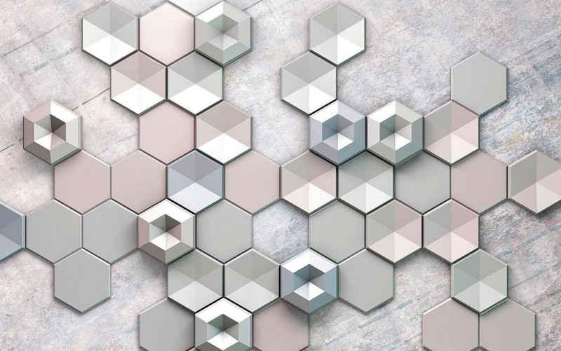 Komar Vliestapete »Hexagon Concrete«, glatt, grafisch