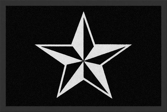 """Fußmatte »Rockbites - Fußmatte """"Nautical Star"""" Stern Schwarz Weiß Nr.172 (100689) Türmatte«, Rockbites"""