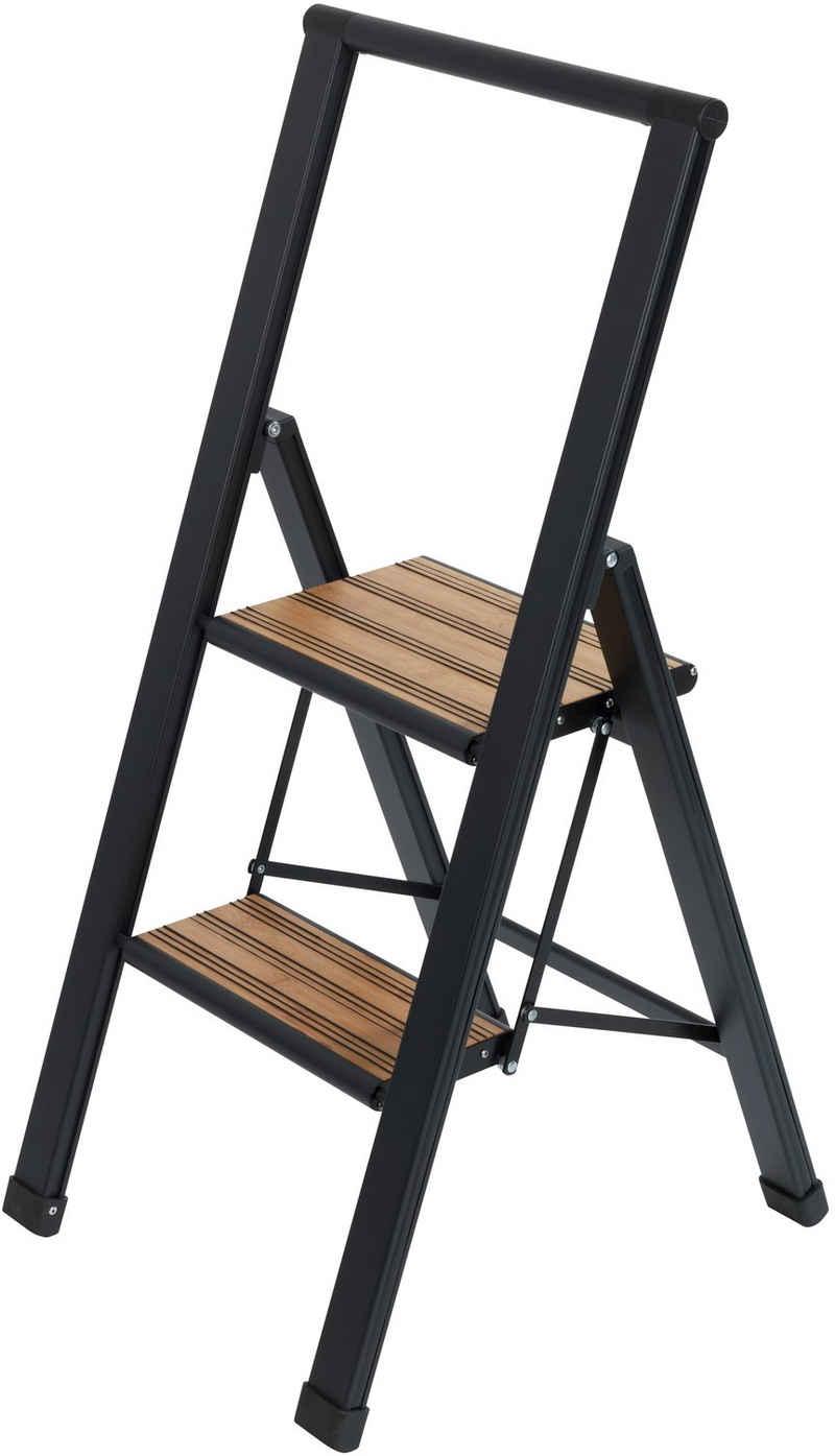 WENKO Trittleiter, Alu-Design, XXL-Stufen, robuster Aluminium in Kombination mit Bambus