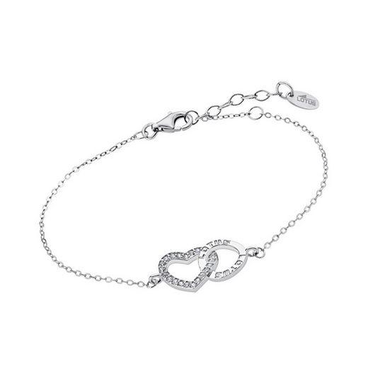 LOTUS SILVER Silberarmband »JLP1864-2-1 LOTUS Silver Herz Armband LP1864-2/1« (Armbänder), 925 Sterling Silber Herz, Farbe: weiß, silber